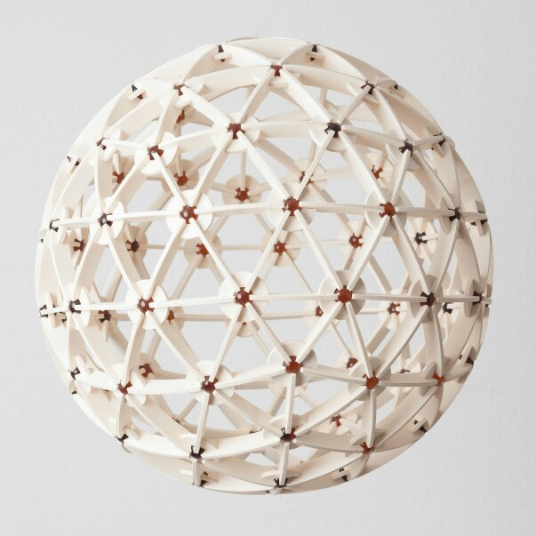 Geodesic sphere made out of CNC cut plywood and marbles
