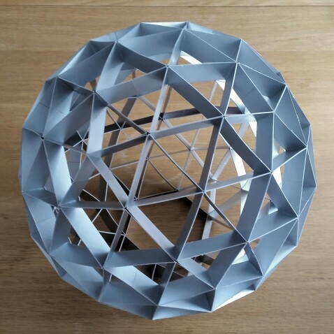Geodesic sphere made out of cardboard
